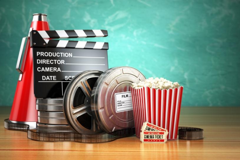 Popcorn and film roll.