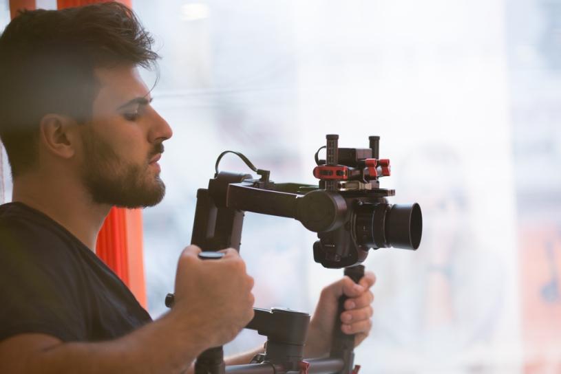 Cameraman filming.