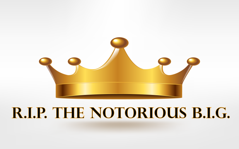 The Notorious B.I.G. with a crown.