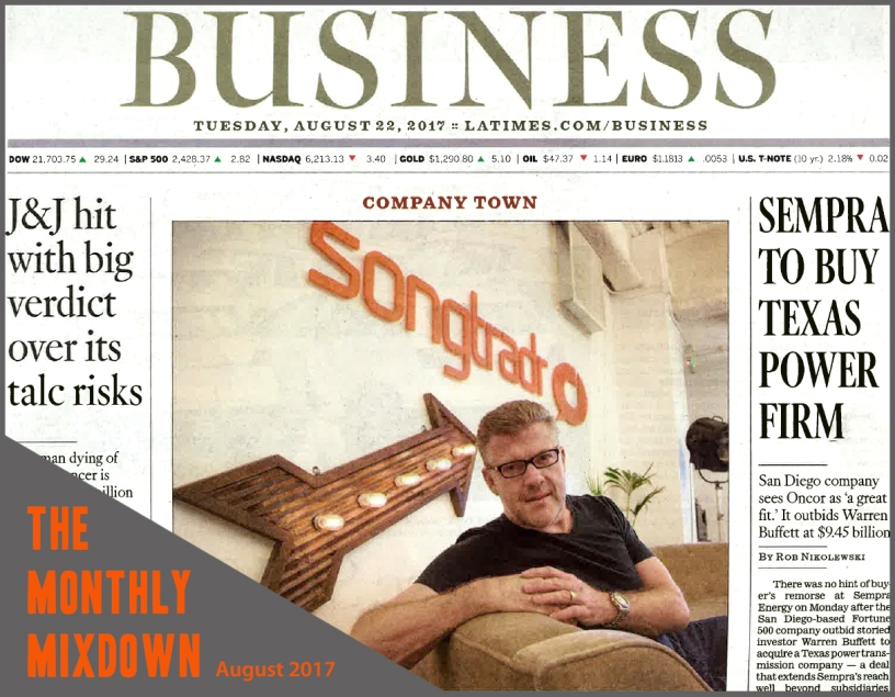 Songtradr CEO, Paul Wiltshire on cover of LA Times.