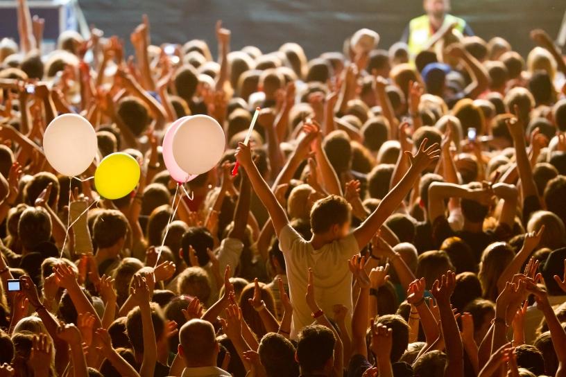 Music Festival goers having good time.